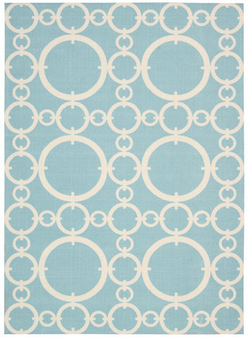 Nourison Sun and Shade SND02 Connected Aquamarine Machine Woven Area Rug by Waverly
