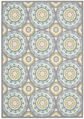 Nourison Sun and Shade SND16 Solar Flair Jade Machine Woven Area Rug by Waverly