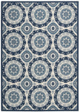 Nourison Sun and Shade SND16 Solar Flair Navy Machine Woven Area Rug by Waverly