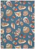 Nourison Sun and Shade SND22 Low Tide Azure Machine Woven Area Rug by Waverly