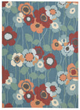Nourison Sun and Shade SND27 Pic-A Poppy Blue Bell Machine Woven Area Rug by Waverly