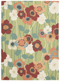 Nourison Sun and Shade SND27 Pic-A Poppy Seaglass Machine Woven Area Rug by Waverly