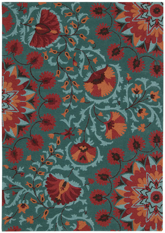 Nourison Suzani SUZ02 Teal Hand Tufted Area Rug