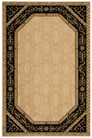 Nourison Vallencierre VA35 Beige Black Machine Woven Area Rug
