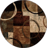 Oriental Weavers Hudson 2544B Brown/Black Area Rug 7' 8 Round