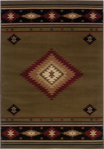 Oriental Weavers Hudson 087J1 Green/Red Area Rug main image