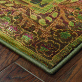 Oriental Weavers Kharma 450G4 Green/Brown Area Rug Corner
