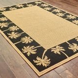 Oriental Weavers Lanai 606K5 Beige/Black Area Rug Closeup