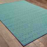 Oriental Weavers Meridian 1634Q Navy/Green Area Rug Closeup