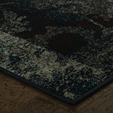 Oriental Weavers Revival 4712C Charcoal/Teal Area Rug Corner