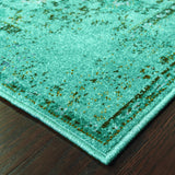 Oriental Weavers Revival 550H2 Teal/Grey Area Rug Corner