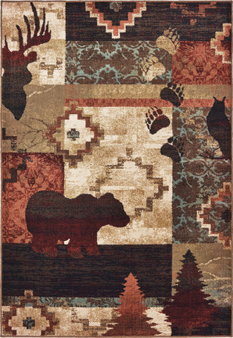 Oriental Weavers Woodlands 9649A Brown Rust Area Rug main image