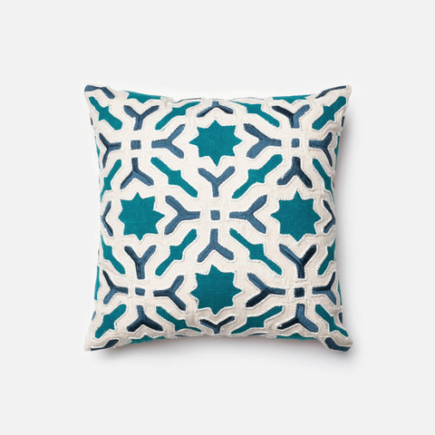 Loloi Pillows P0014 Teal/Ivory main image