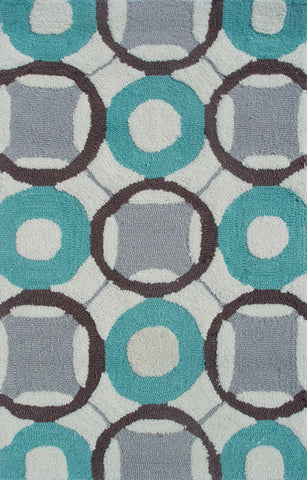 Rug Market America Pop Accents Rounders Blue Aqua/Gray/White Area main image
