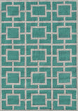 Rug Market America Pop Accents Larson Teal/White Area 5' 0'' X 7' 0''