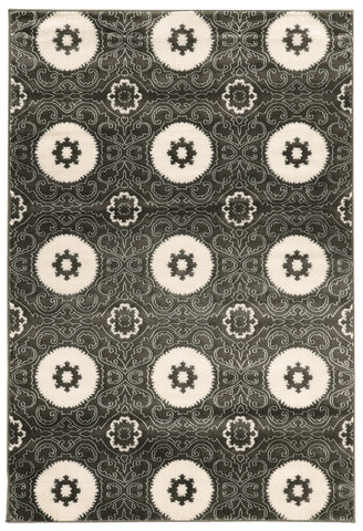 Linon Prisma Collection RUGPA09 Charcoal/White Area Rug main image