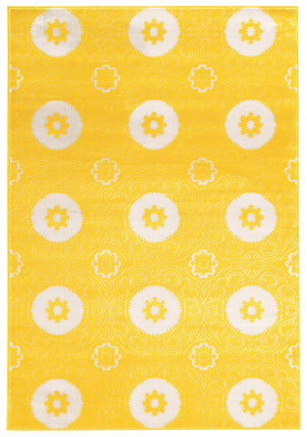 Linon Prisma Collection RUGPA14 Yellow/White Area Rug main image