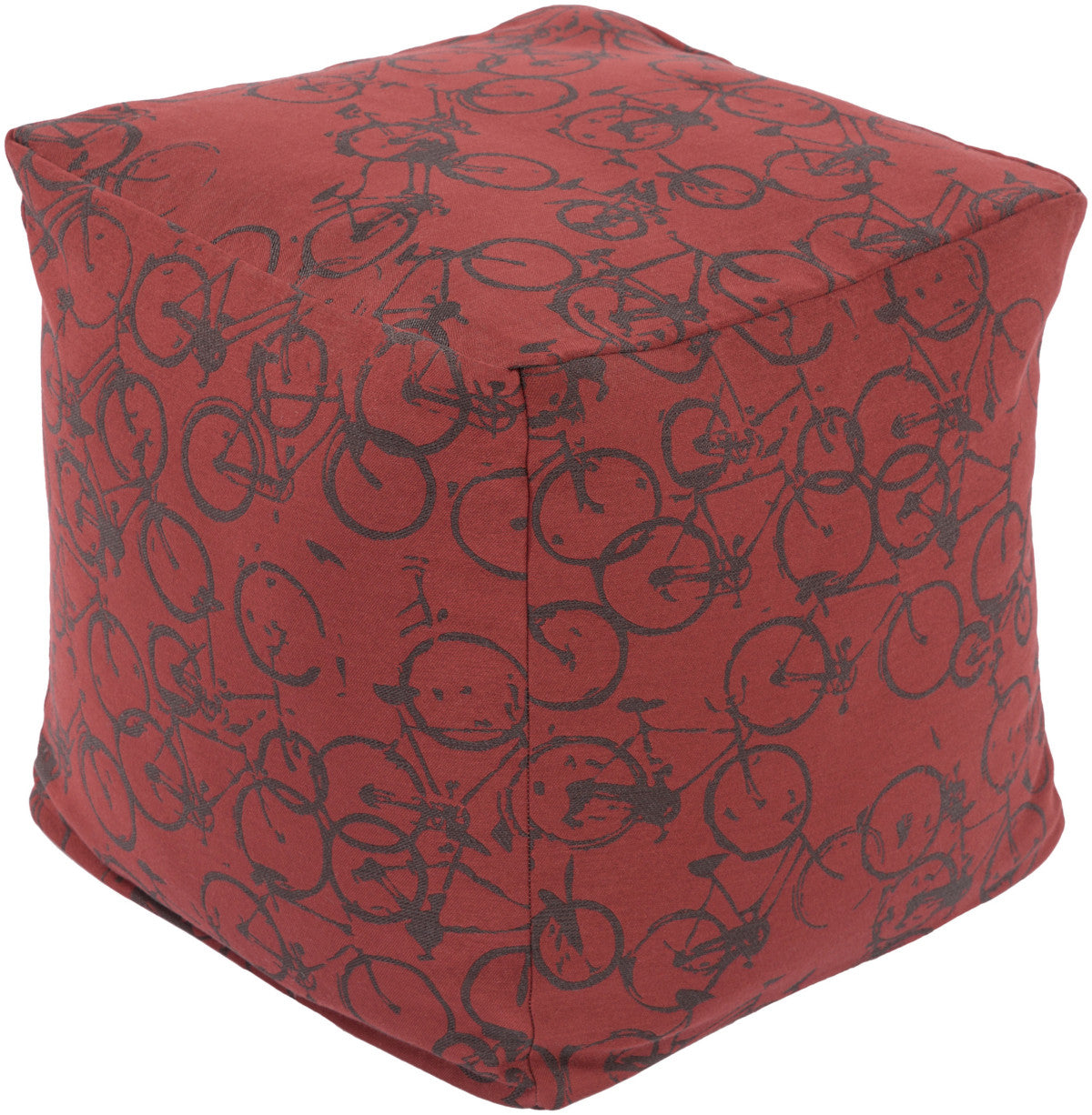 Surya Peddle Power PDPF-006 Red Pouf by Mike Farrell
