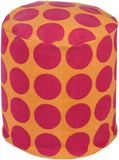 Surya Playhouse PHPF-014 Pink Orange Pouf 18 X 18 X 18 Cylinder