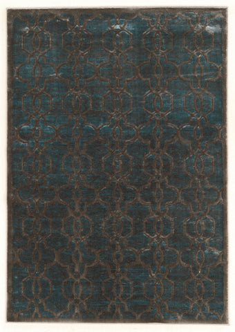 Linon Platinum Collection RUGPM16 Blue/Cream Area Rug main image