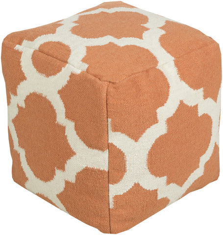 Surya P-152 Orange Pouf
