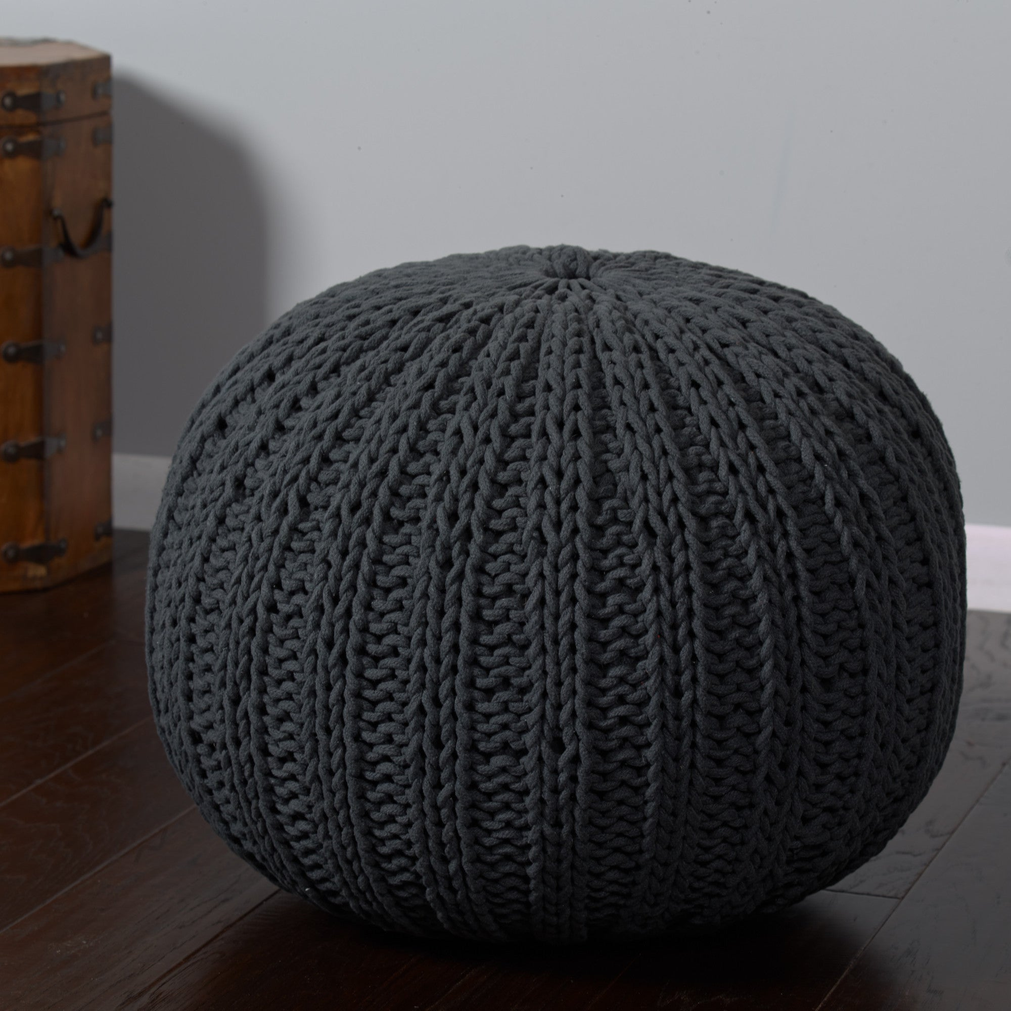 LR Resources Poufs 08124 Charcoal Pouf