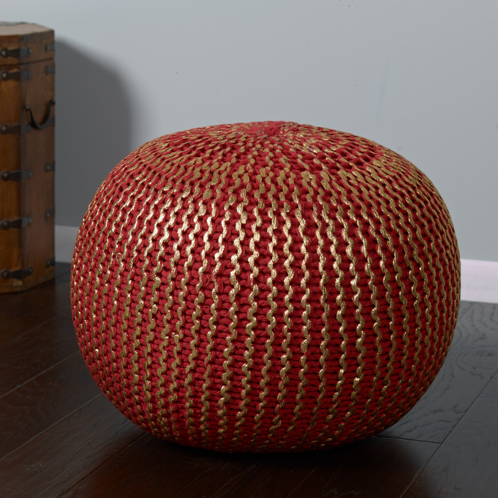 LR Resources Poufs 08125 Red/Gold Pouf
