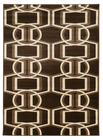 Linon Roma Collection RUGRA01 Chocolate/Beige Area Rug main image