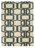 Linon Roma Collection RUGRA02 Grey/Turquoise Area Rug main image