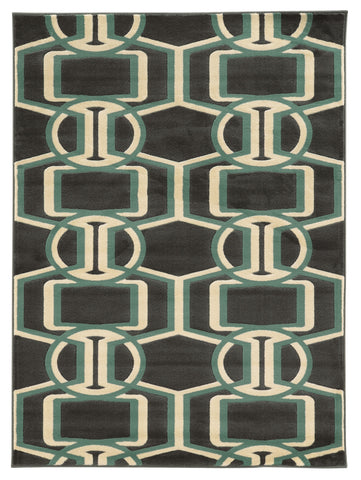 Linon Roma Collection RUGRA03 Chocolate/Turquoise Area Rug main image