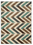 Linon Roma Collection RUGRA06 Ivory/Turquoise Area Rug main image