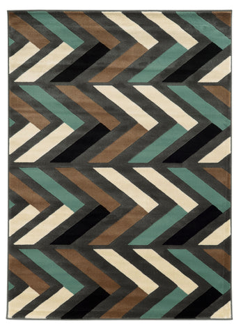 Linon Roma Collection RUGRA07 Grey/Turquoise Area Rug main image