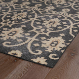 Kaleen Restoration RES01-02 Black Area Rug Close-up Shot