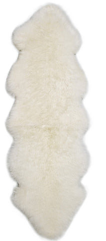 Auskin Luxury Skins Premium Sheepskin Double Pelt Ivory Animal Hide Area Rug