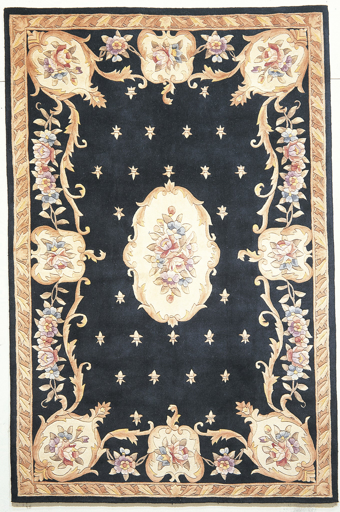 KAS Ruby 8901 Black Fleur-De-Lis Aubusson Hand Tufted Area Rug