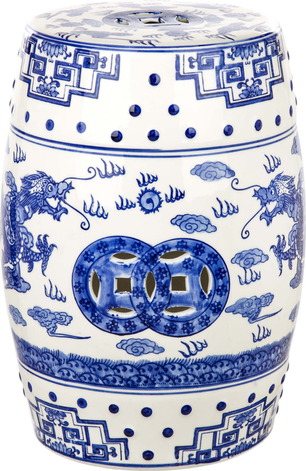 Safavieh Chinoiserie Dragon's Breath Garden Stool Blue Furniture main image
