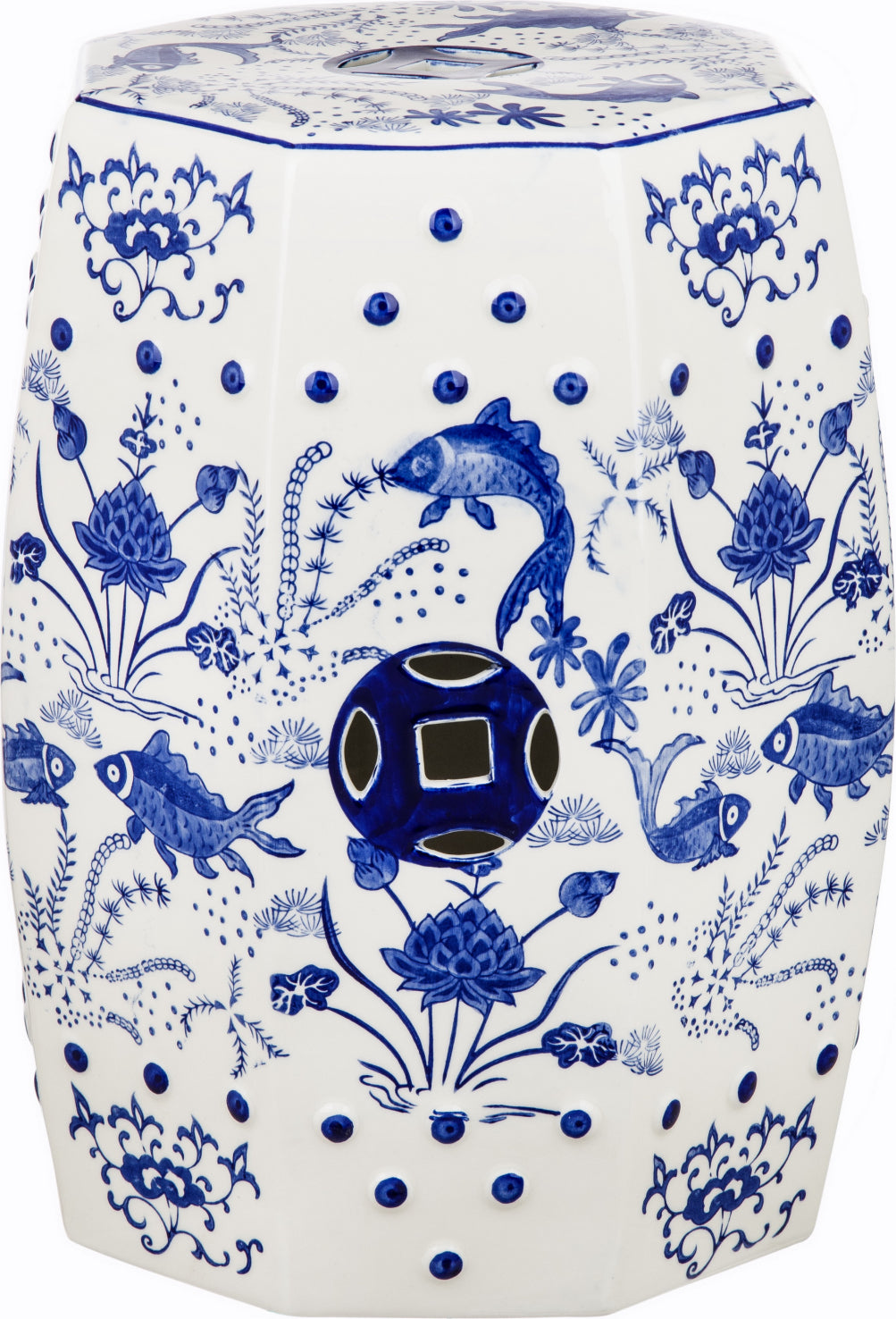 Safavieh Chinoiserie Cloud 9 Garden Stool Blue Furniture main image