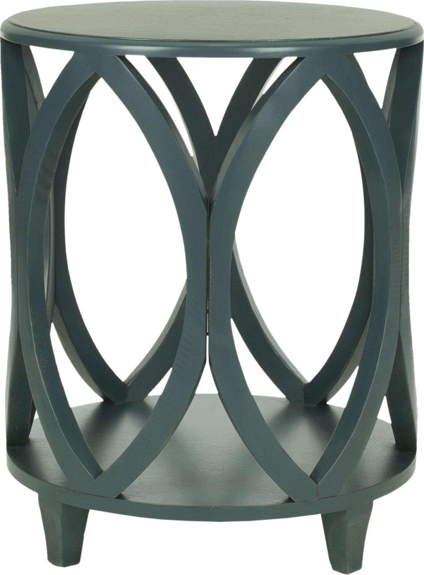 Safavieh Janika Round Accent Table Steel Teal Furniture main image
