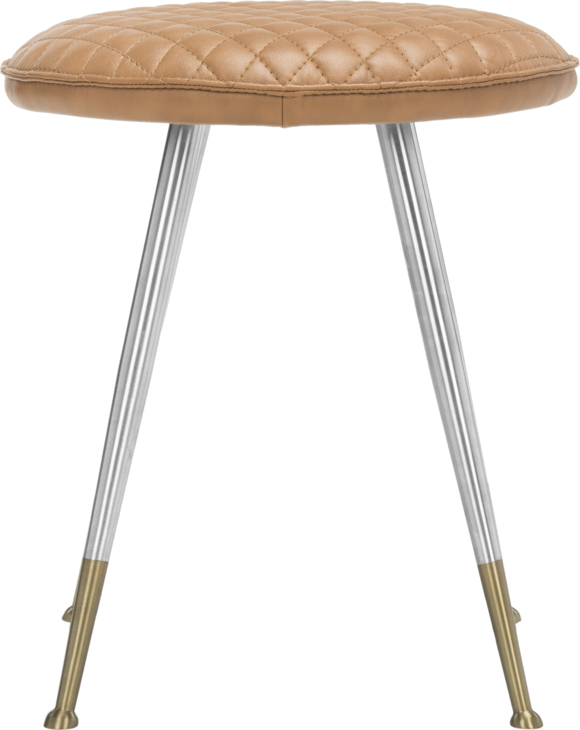 Safavieh Brinley 30''H Mid Century Modern Stool Mustard and Silver Furniture main image