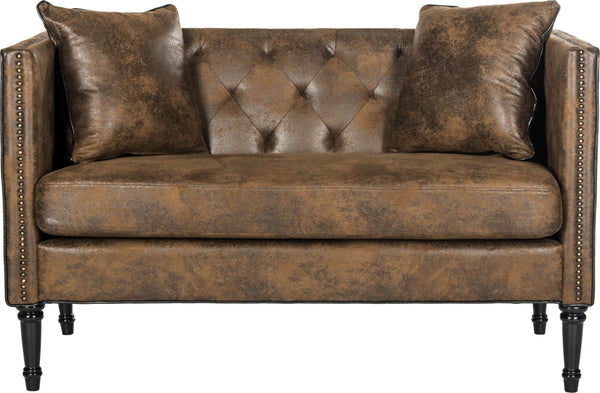 Safavieh Sarah Tufted Settee With Pillows Vintage Brown And Espresso  Furniture
