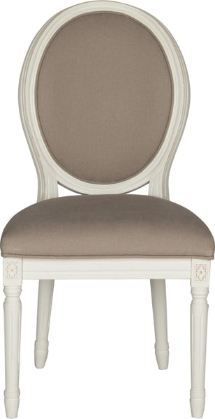 Safavieh Holloway 19u0027u0027H French Brasserie Linen Oval Side Chair Taupe And  Cream Furniture