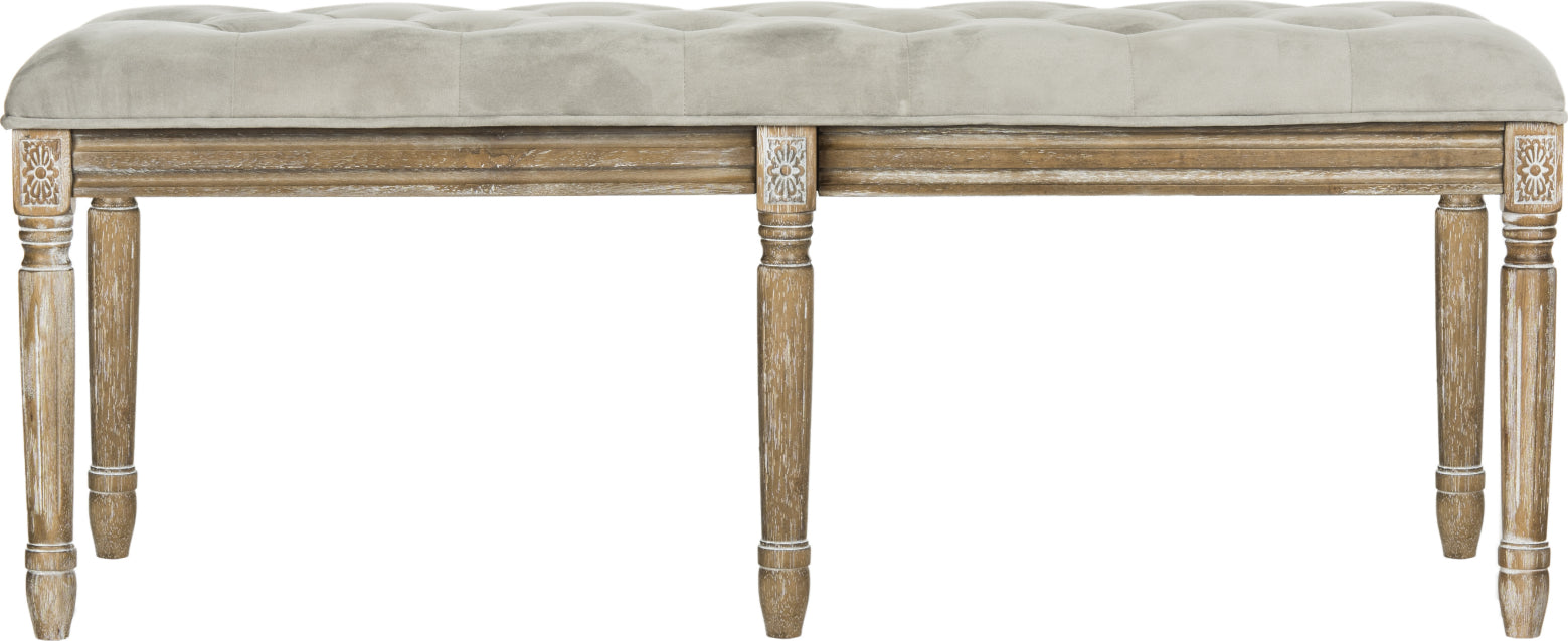 Safavieh Rocha 19''H French Brasserie Tufted Traditional Rustic Wood Bench Grey and Oak Furniture main image