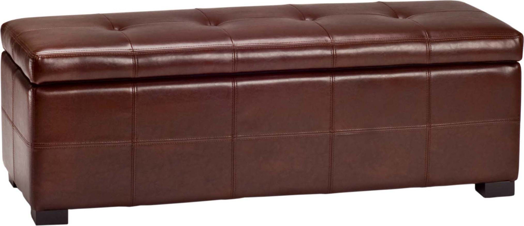 Safavieh Maiden Tufted Storage Bench Lg Cordovan and Black Furniture main image