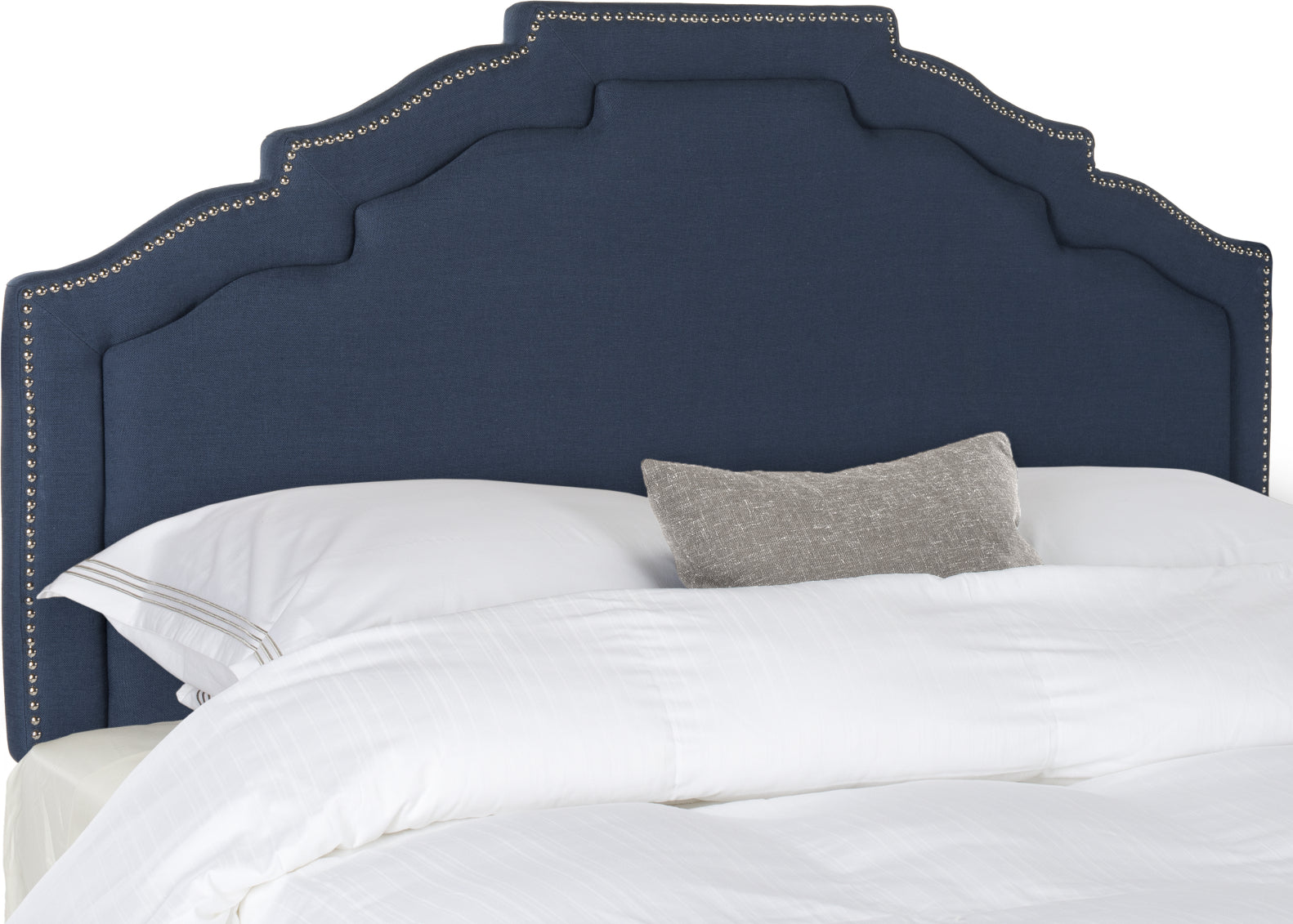 Safavieh Alexia Steel Blue Linen Headboard-Silver Nail Head Bedding main image