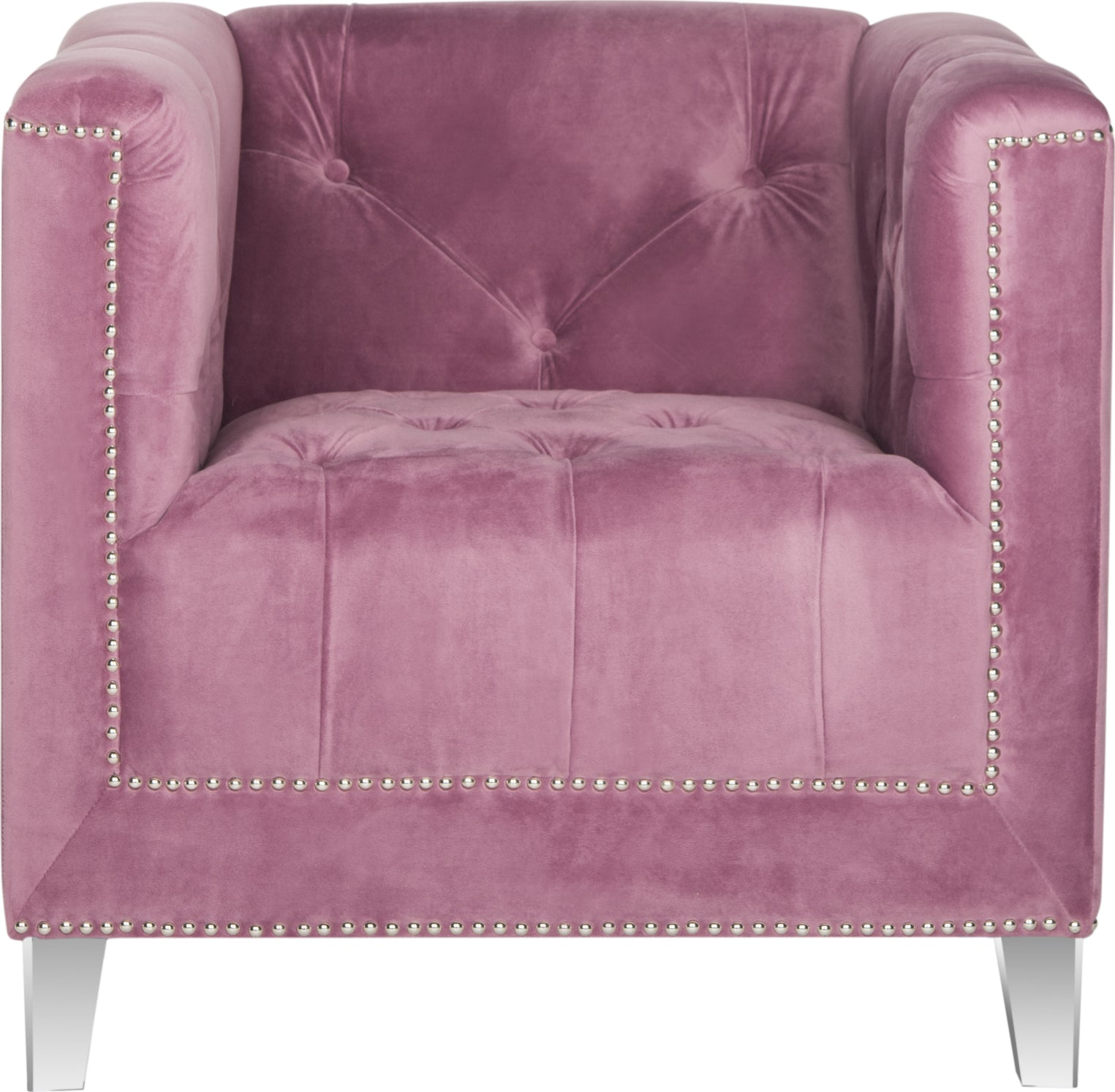 Safavieh Hollywood Glam Tufted Acrylic Plum Club Chair With Silver Nail Heads and Clear Furniture main image
