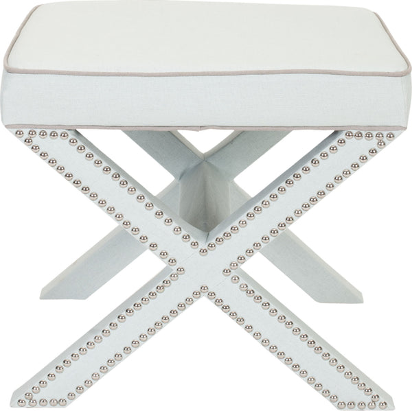 Safavieh Palmer Ottoman Silver Nail Heads Robins Egg Blue Furniture    Clearance