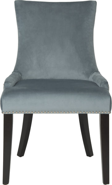 Wondrous Safavieh Lester 19H Dining Chair Set Of 2 Silver Nail Heads Blue And Espresso Furniture Clearance Caraccident5 Cool Chair Designs And Ideas Caraccident5Info