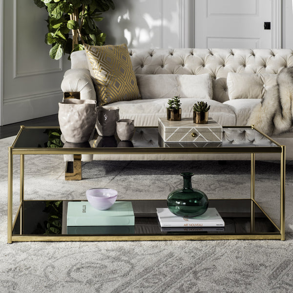 Safavieh Zola Glass Coffee Table Gold – Incredible Rugs And Decor