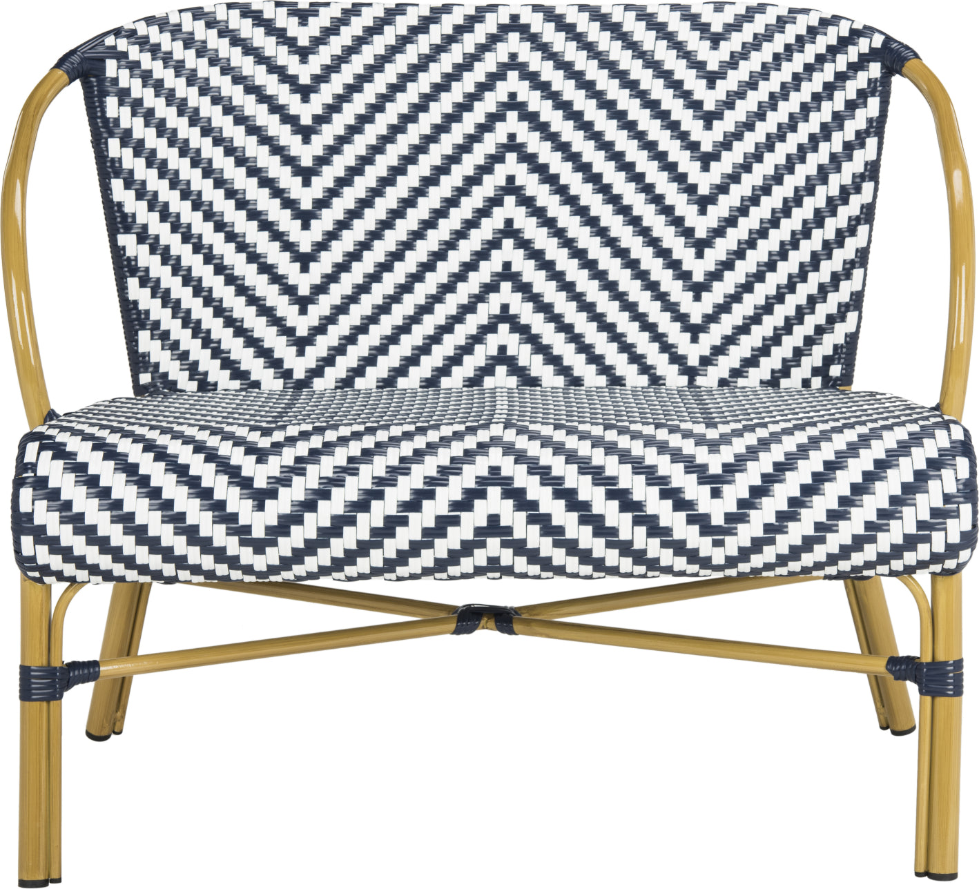 Safavieh Dandra Herringbone Rattan Settee Navy/White Furniture main image