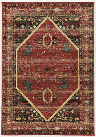 Linon Serape Collection RUGSE02 Red/Black Area Rug main image
